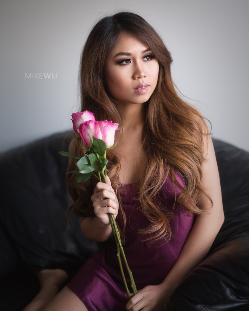 vancouver portrait photographer mike wu rose indoor studio photography boudoir satin teddy curly hair beautiful anna asian photoshoot inside natural