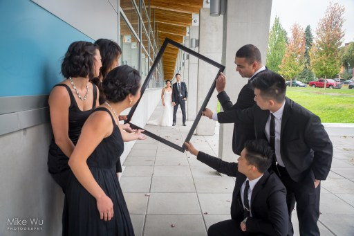 vancouver, wedding, frame, picture, photo, column, framing, bridal party, groomsmen, bridesmaids, wedding, love, couple, newlyweds, love, lovely, cover, urban, holding, together