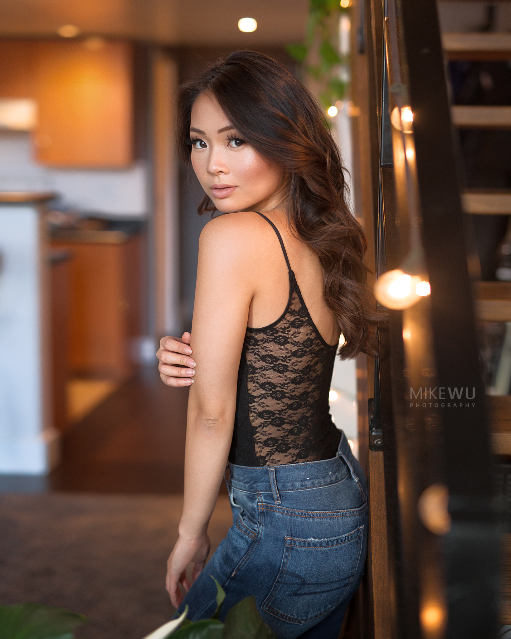 vancouver portrait photographer mike wu indoor studio photography asian light stairs standing model hairstyle makeup beauty celinelikedion photoshoot