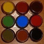 These colours are a representation of the actual colours and should only be used as a guide for colour matching. Top row Yellow Ochre S49, Red Brown, Burnt Umber Viaton B Middle row Chrome Oxide Green G140, Ultramarine Blue, Red Ochre S216 Bottom row Olive Green CB2965, Light Brown R810, Black Duplox