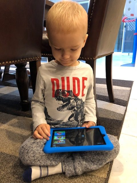 Power of a Wish List gift  - Child after he receiving his Mikey's Way electronic gift