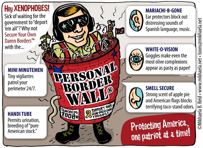Anti immigrant bigots in the USA, cartoon