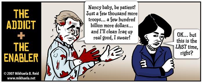 Bush, Pelosi, and the Iraq war, cartoon by Mikhaela