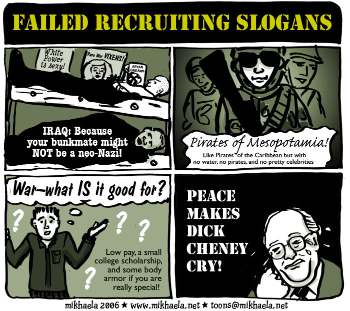 Recruitment for the Iraq war, cartoon by Mikhaela
