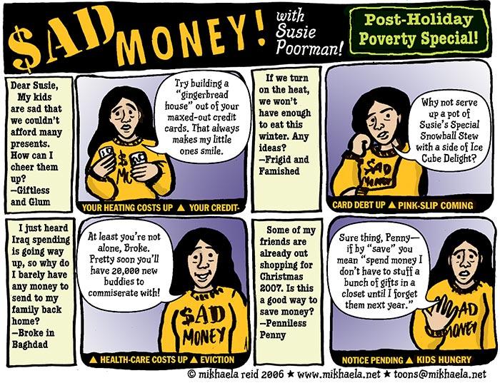 Poverty in the USA, cartoon by Mikhaela