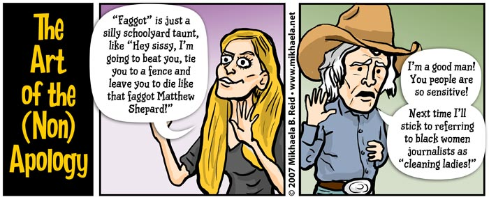 US bigots Ann Coulter and Don Imus, cartoon by Mikhaela