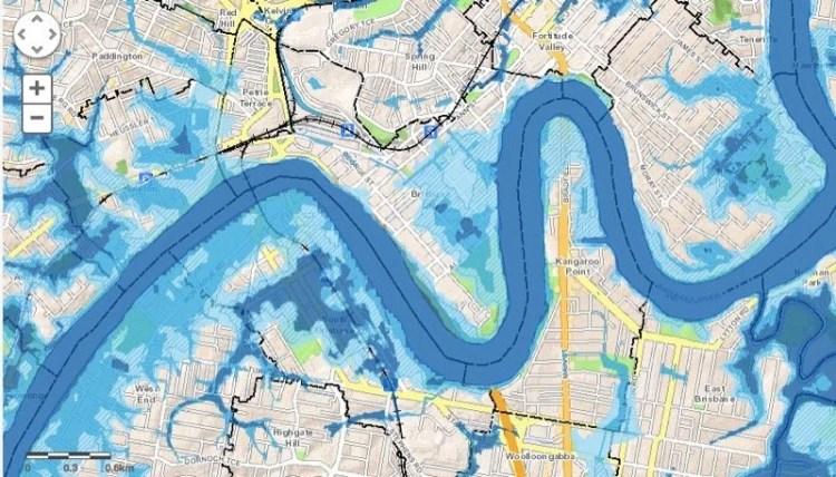 Regiões de enchentes em Brisbane