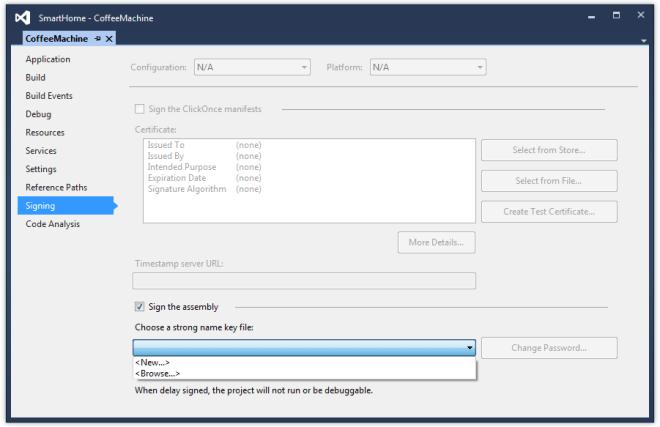 Podpisywanie biblioteki w Visual Studio
