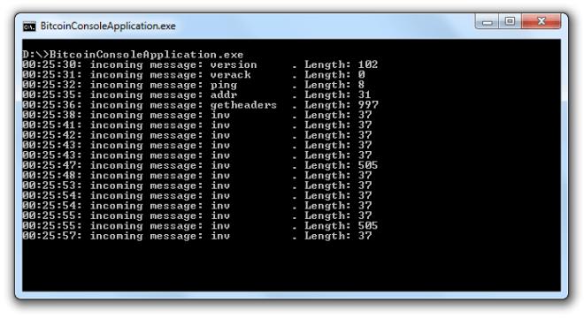 Wynik wysłania wiadomości typu Version do sieci Bitcoina