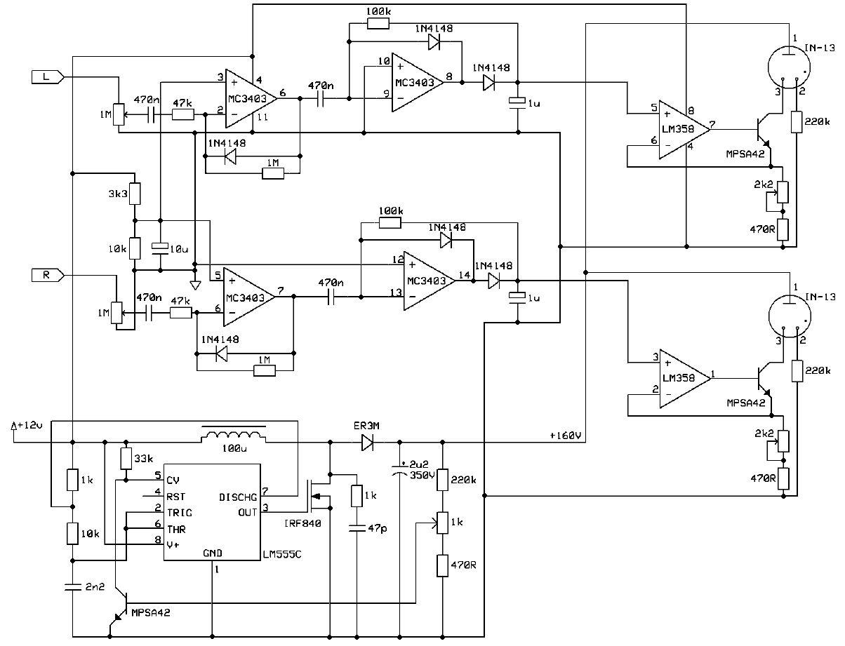 Transistor Led Vu Meter Schematic