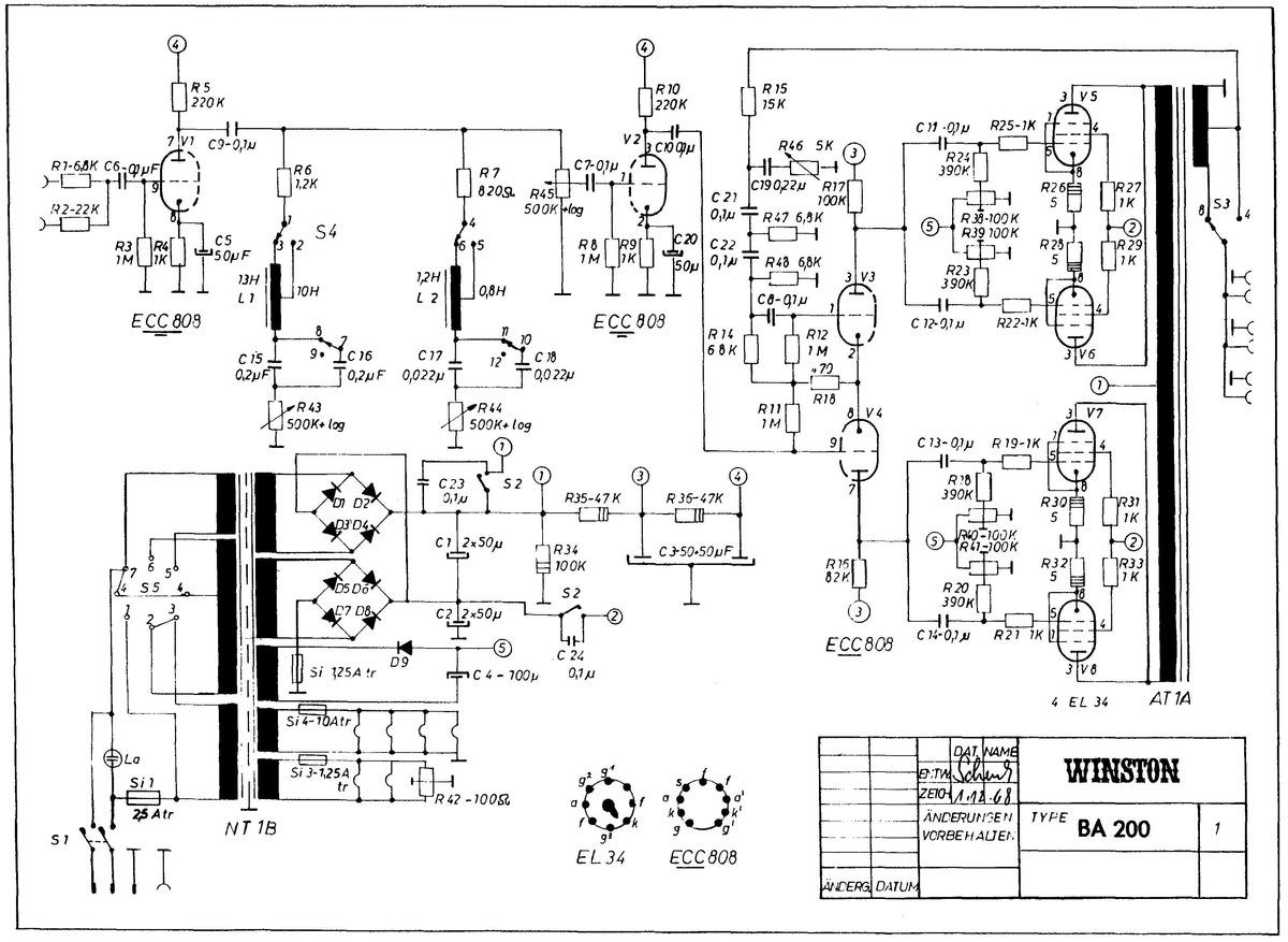 Schaltplan Winston Ba200 Bzw Echolette Ba200
