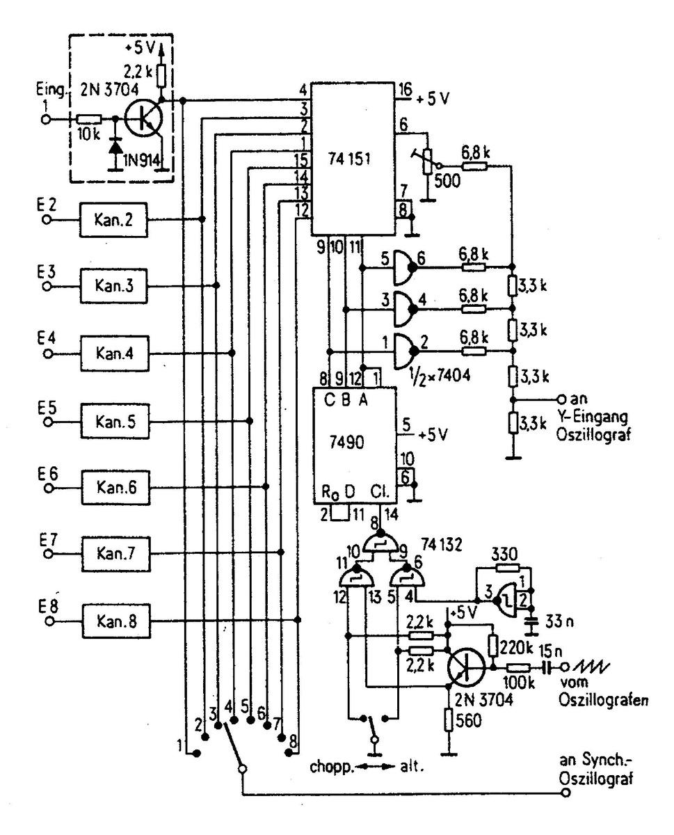 Mehrkanal schalter für das oszi mikrocontroller