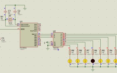 PIC16 74HC138 desactiva secuencialmente leds