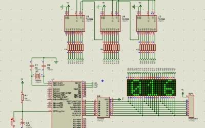 PIC16 matriz de leds 8×8 contador decimal