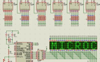 PIC16 matriz de leds 8×8 con texto en desplazamiento