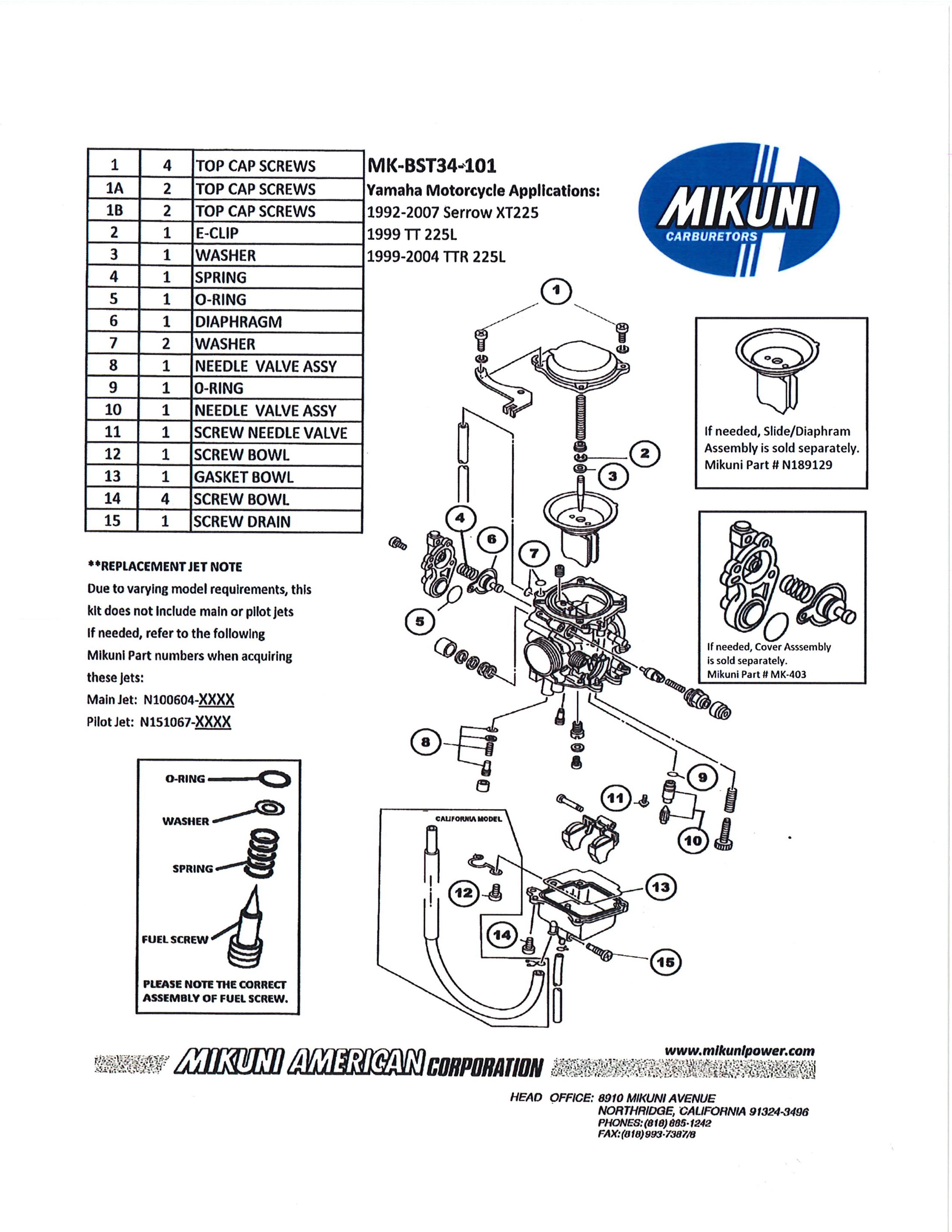 Bst34 101 Mikuni Rebuild Kit Yamaha 225 Selected Xt Tt