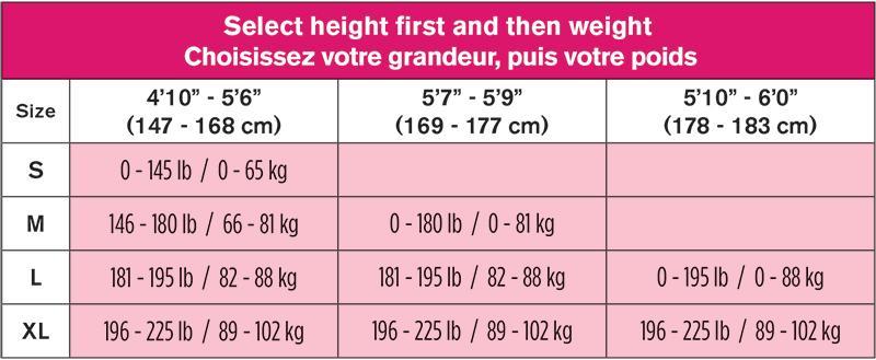 ShapeOn Size Chart