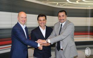 L'a.d. Fassone, mister Montella e il d.s. Mirabelli nel giorno del rinnovo dell'allenatore
