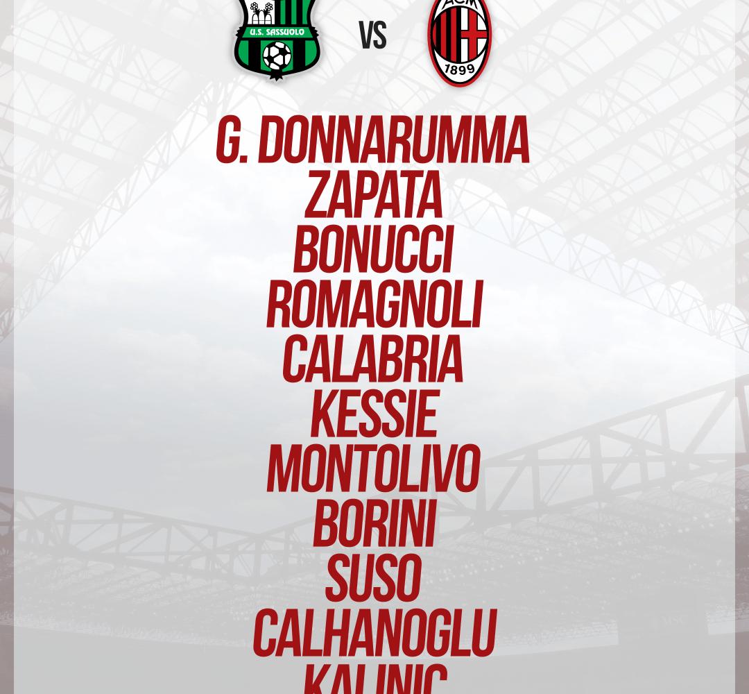 La formazione ufficiale scelta da Montella per Sassuolo-Milan