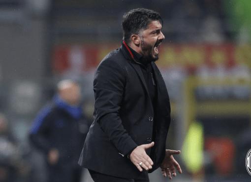 Mister Gennaro Gattuso durante il derby di Coppa Italia Milan-Inter