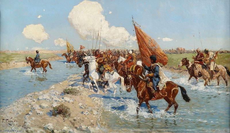 Francois+Flameng-Circassian+Horsemen+Crossing+A+River
