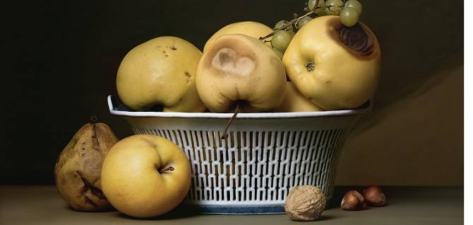 Sharon Core Apples in a Porcelain Basket, 2007©Sharon Core,Courtesy of the Artist &Yancey Richardson