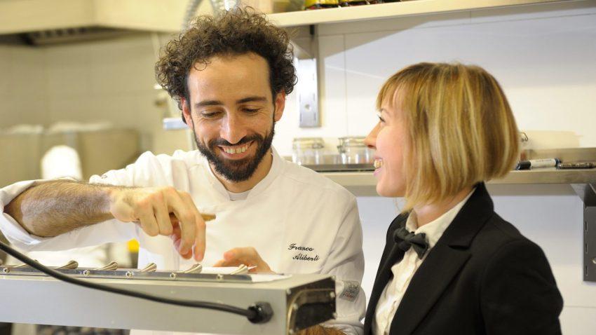 Franco Aliberti con Monica Angeli, restaurant manager e sommelier