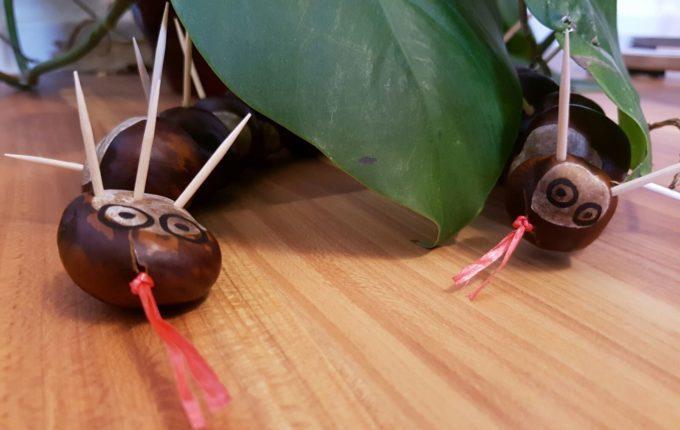 Bastelideen für den Herbst - Kastanienschlange