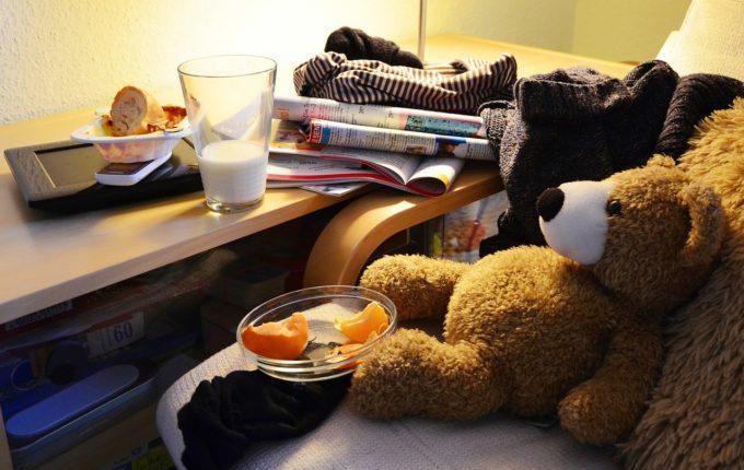 Teddy umgeben von Unordnung
