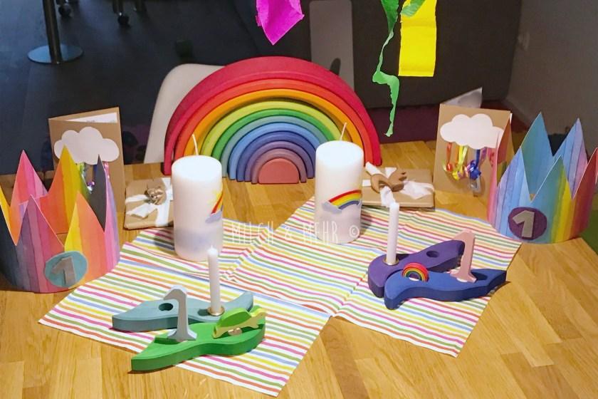 Regenbogen Kindergeburtstag Kerzen