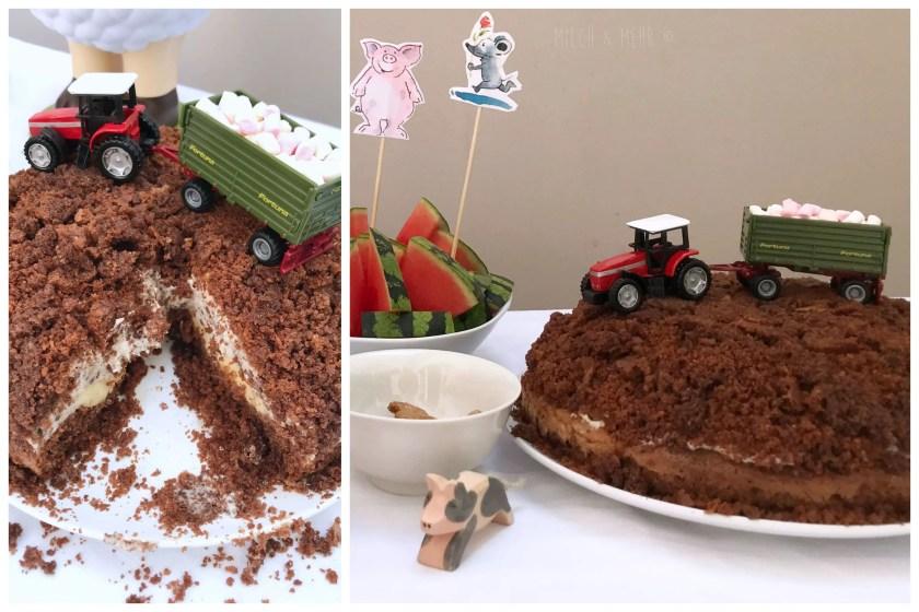 Traktor Maulwurfkuchen Bauernhof Kindergeburtstag