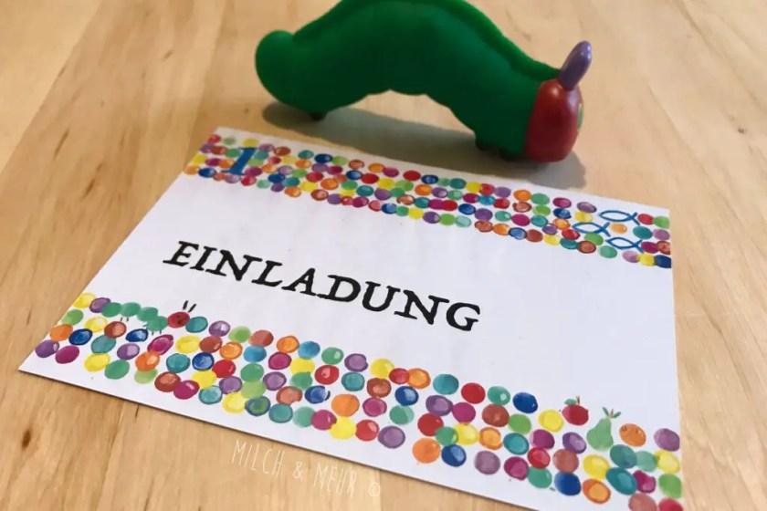 Raupe Nimmersatt Taufe Geburtstag Einladungskarten