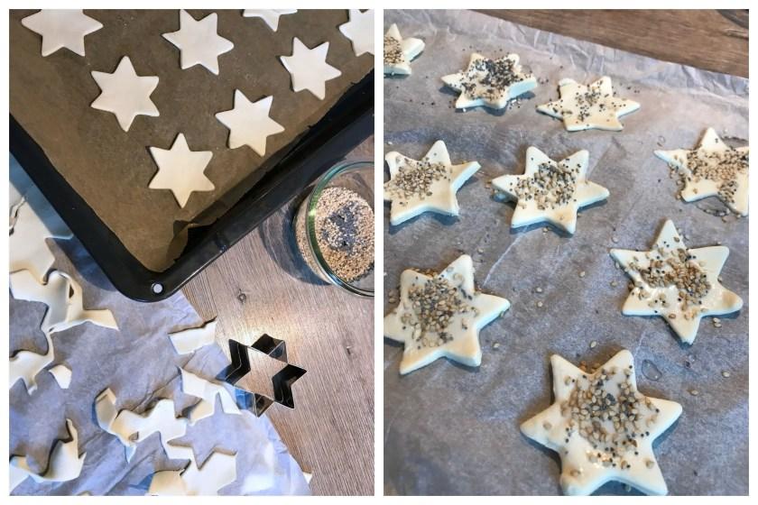 Sterne aus Blaetterteig deftiger weihnachtlicher Snack