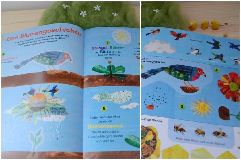 Raupe Nimmersatt Naturbastelbuch Blick ins Buch