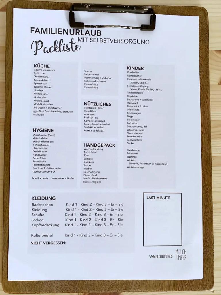 Druckvorlage Packliste mit Kind