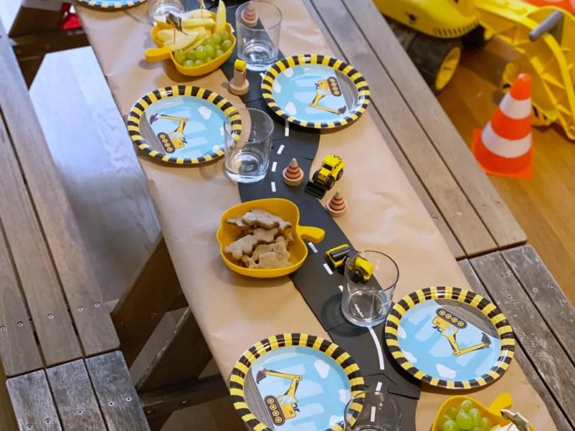Baustellen Kindergeburtstag Tischdekoration