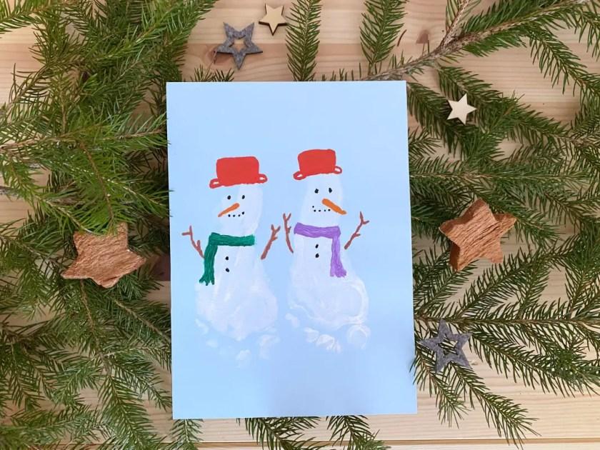 Fußabdruck Schneemann Weihnachten