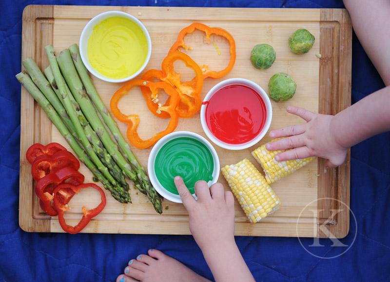 Arte com vegetais para crianças
