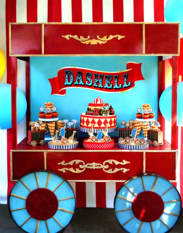 festa circo decoração mesa