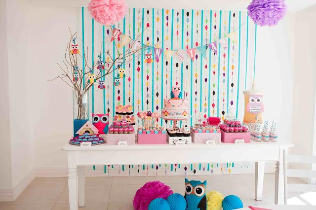 decoração festa corujas