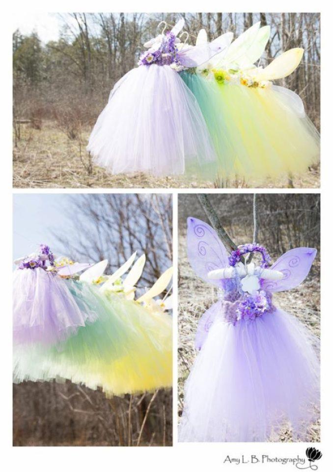 Vestidos, saias e asas para a aniversariante e as convidadas