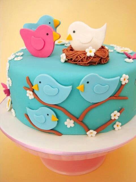 bolo de aniversario passarinhos
