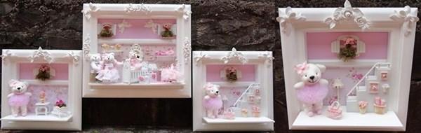 Trio de quadros para decoração de parede e porta de maternidade da Bebê feliz by Lu. Não resisti à ursinha bailarina! http://www.airu.com.br/loja/bebefelizbylu