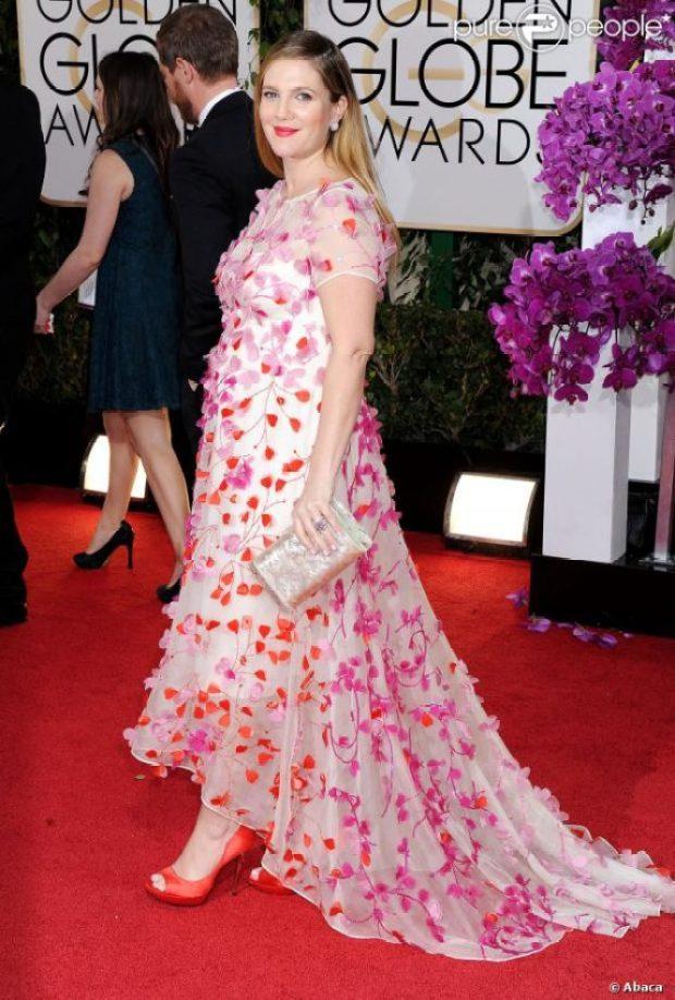 Drew Barrymore, grávida no Globo de Ouro 2014