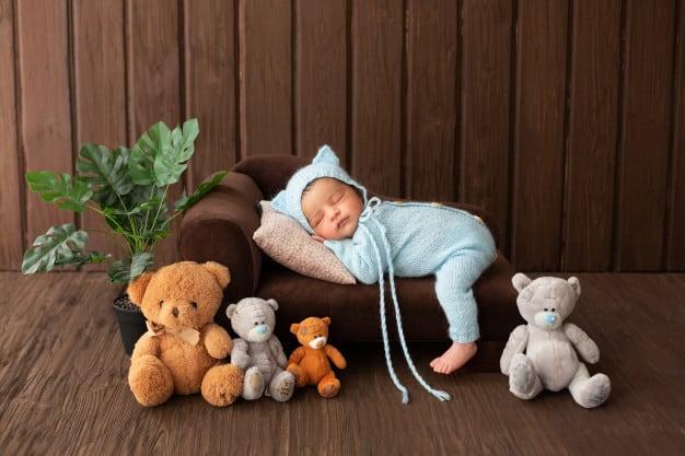 Respiração do bebê em ensaio