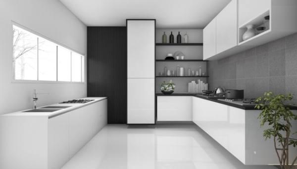 cozinha branco e cinza