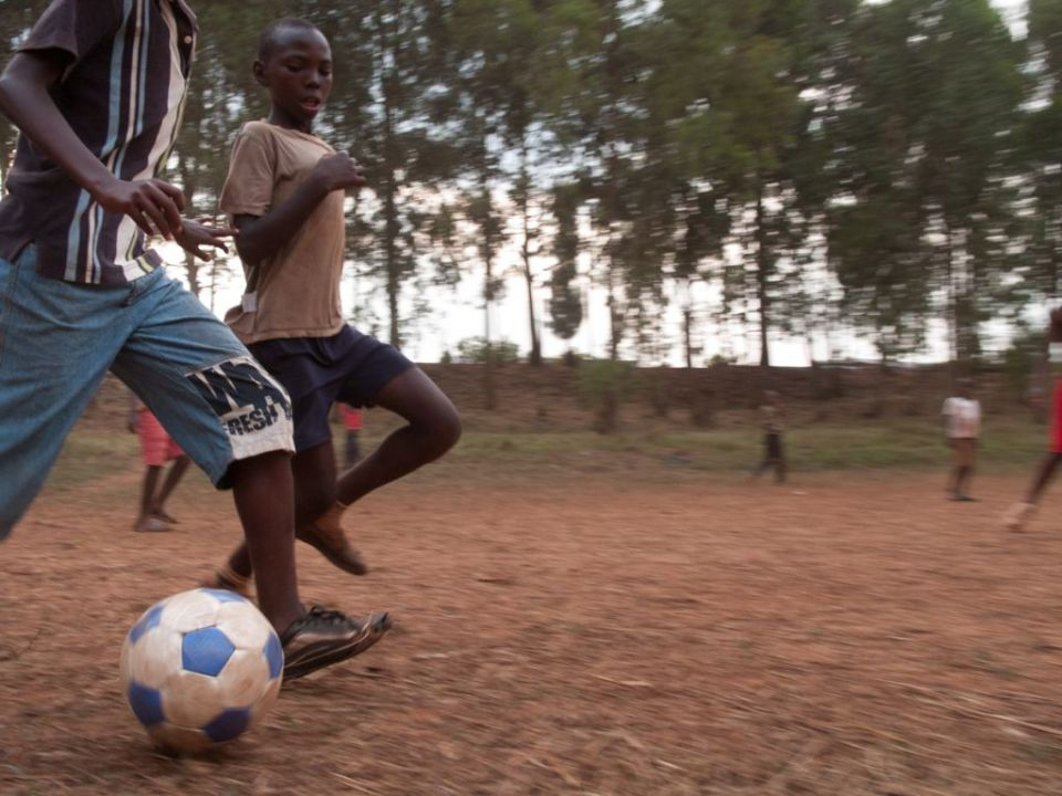 a game of football in Rwanda.
