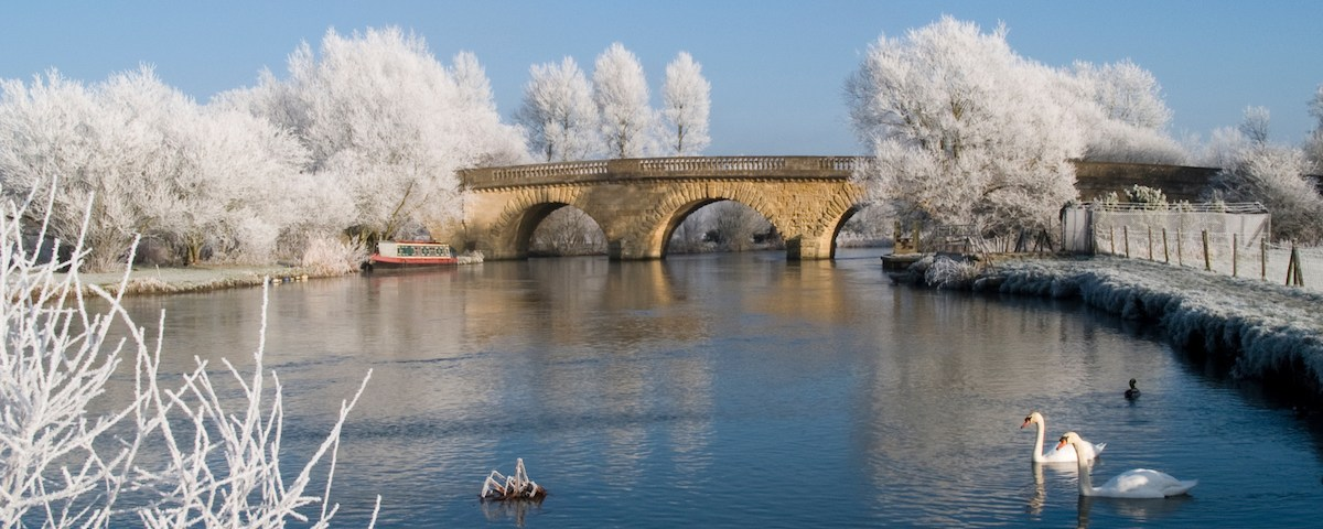Swinford Toll Bridge Oxfordshire in a heavy frost