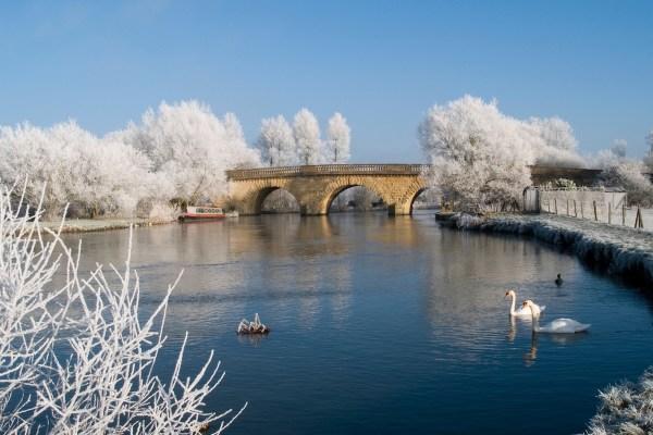 Swinford Toll Bridge Oxfordshire in a heavy frost