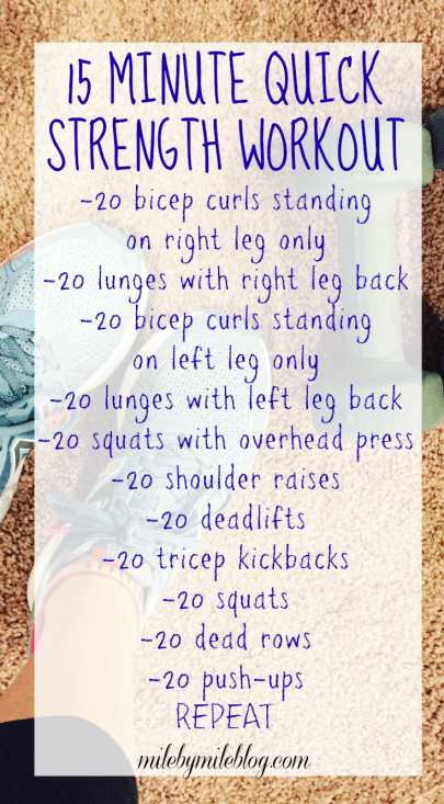 A quick and effective strength training workout. This can be done at home or in the gym. Repeat more or less than once depending on how much time you have!